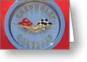1958 Chevrolet Greeting Cards - 1958 Chevrolet Corvette Emblem Greeting Card by Jill Reger