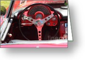 1958 Chevrolet Greeting Cards - 1958 Chevrolet Corvette Steering Wheel and Dashboard . 5D16219 Greeting Card by Wingsdomain Art and Photography