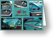 1958 Chevrolet Greeting Cards - 1958 Chevy IMPALA Greeting Card by Paul Ward