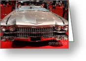 Transportation Greeting Cards - 1959 Cadillac Convertible . Front View Greeting Card by Wingsdomain Art and Photography