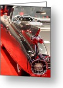 Transportation Greeting Cards - 1959 Cadillac Convertible . Wing View Greeting Card by Wingsdomain Art and Photography