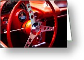 Street Rod Photo Greeting Cards - 1959 Chevy Corvette Steering Wheel Greeting Card by David Patterson