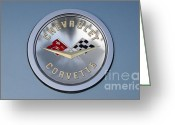 Sports Art Photo Greeting Cards - 1959 Corvette Emblem Greeting Card by Paul Ward