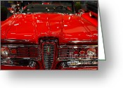 Red Sportscar Greeting Cards - 1959 Edsel Corsair Convertible . Red . 7D9235 Greeting Card by Wingsdomain Art and Photography