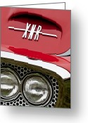 Roadster Greeting Cards - 1960 Plymouth XNR Ghia Roadster Grille Emblem Greeting Card by Jill Reger