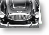 Chrome Grill Greeting Cards - 1961 Austin Healey 3000 Greeting Card by Gwyn Newcombe