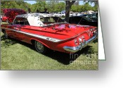 Muscle Cars Greeting Cards - 1961 Chevrolet Impala SS Convertible . 5D16265 Greeting Card by Wingsdomain Art and Photography