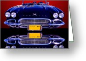 Auto Show Greeting Cards - 1961 Chevy Corvette Greeting Card by Jim Carrell