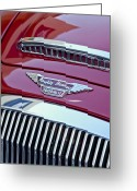 Austin Healey Photo Greeting Cards - 1962 Austin Healey 3000 MKII Hood Emblem Greeting Card by Jill Reger