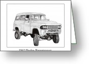 Framed Drawings Greeting Cards - 1962 Dodge Powerwagon Greeting Card by Jack Pumphrey
