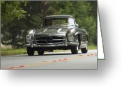 Mercedes Benz 300 Sl Classic Car Greeting Cards - 1962 Mercedes-Benz 300 SL Alloy Roadster Greeting Card by Jill Reger