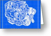 Corvette Gift Drawings Greeting Cards - 1963 - 1965 L84 327 Corvette Fuelie Engine Reverse Blueprint Greeting Card by K Scott Teeters