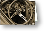 1964 Corvette Greeting Cards - 1963 Chevrolet Corvette Steering Wheel - Sepia Greeting Card by Gordon Dean II