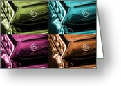 Turquois Greeting Cards - 1963 Chevrolet Impala SS Offset Colors Greeting Card by Gordon Dean II