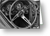 1964 Corvette Greeting Cards - 1963 Chevy Corvette Steering Wheel and Dash Board Black and White Greeting Card by Gordon Dean II