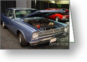 Transportation Greeting Cards - 1964 Plymouth Satellite . Blue . 7D9261 Greeting Card by Wingsdomain Art and Photography