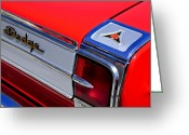Dodge Greeting Cards - 1965 Dodge Coronet 500 Taillight Emblem Greeting Card by Jill Reger