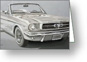 Storm Prints Painting Greeting Cards - 1965 Ford Mustang Greeting Card by Daniel Storm