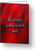 Jaguar E Type Greeting Cards - 1965 Jaguar E Type Emblem Greeting Card by Jill Reger