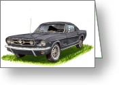 Great Painting Greeting Cards - 1965 Mustang Fastback Greeting Card by Jack Pumphrey