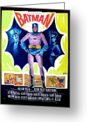 Batman Greeting Cards - 1966 Batman Movie Poster Greeting Card by Paul Van Scott