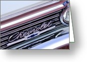 Chrome Jet Greeting Cards - 1966 Chevrolet Biscayne Front Grille Greeting Card by Jill Reger