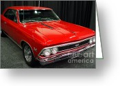 Sportscars Greeting Cards - 1966 Chevy Chevelle SS 396 . Red . 7D9278 Greeting Card by Wingsdomain Art and Photography