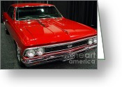 Chevrolet Chevelle Greeting Cards - 1966 Chevy Chevelle SS 396 . Red . 7D9280 Greeting Card by Wingsdomain Art and Photography
