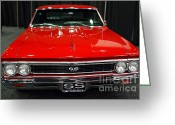 Chevrolet Chevelle Greeting Cards - 1966 Chevy Chevelle SS 396 . Red . 7D9282 Greeting Card by Wingsdomain Art and Photography