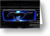 Classic Mustang Greeting Cards - 1966 Mustang Grill Emblem Glows Greeting Card by Paul Ward