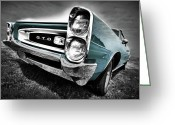 Black And White Digital Art Greeting Cards - 1966 Pontiac GTO Greeting Card by Gordon Dean II