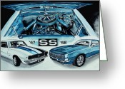 Classic Auto Greeting Cards - 1967 1968 Chevy Camaro SS ART Original Painting Greeting Card by J Vincent Scarpace