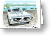 Barracuda Greeting Cards - 1967 BARRACUDA  classic Plymouth muscle car sketch rendering Greeting Card by John Samsen