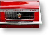 Classic Fiat Greeting Cards - 1967 Fiat Abarth 1000 OTR Grille Greeting Card by Jill Reger