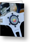 Classic Fiat Greeting Cards - 1967 Fiat Abarth Steering Wheel Emblem Greeting Card by Jill Reger