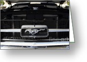 Ford Engine Greeting Cards - 1967 Ford Mustang Emblem 7d15544 Greeting Card by Wingsdomain Art and Photography