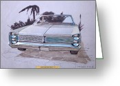 Muscle Cars Greeting Cards - 1967 PLYMOUTH FURY  vintage styling design concept rendering sketch Greeting Card by John Samsen