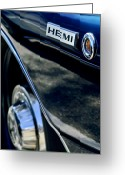Twitter Greeting Cards - 1968 Dodge Charger RT Coupe 426 Hemi Upgrade Emblem Greeting Card by Jill Reger