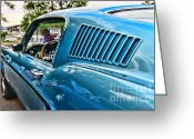 Gloss Greeting Cards - 1968 Ford Mustang Fastback in Blue Greeting Card by Paul Ward