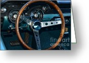Dash Greeting Cards - 1968 Mustang Fastback Steering Wheel Greeting Card by Paul Ward