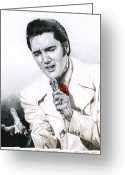 Elvis Presley Greeting Cards - 1968 White If I Can Dream Suit Greeting Card by Rob De Vries