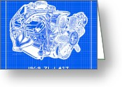 Corvette Gift Drawings Greeting Cards - 1969 427 ZL-1 Corvette Racing Engine Reverse Blueprint Greeting Card by K Scott Teeters