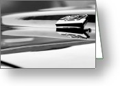 Camaro Greeting Cards - 1969 Chevrolet Camaro 427 Hood Ornament Black and White Greeting Card by Jill Reger