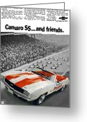 Ss396 Greeting Cards - 1969 Chevrolet Camaro SS Indy 500 Pace Car Ad Greeting Card by Digital Repro Depot