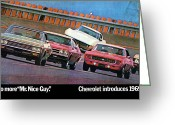 1969 Nova Ss 396 Greeting Cards - 1969 Chevrolet Impala Chevelle Camaro Corvette and Nova Greeting Card by Digital Repro Depot
