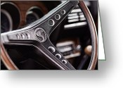 Chrome Jet Greeting Cards - 1969 Ford Mustang Shelby Cobra GT500 Steering Wheel Greeting Card by Gordon Dean II