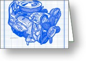 Corvette Gift Drawings Greeting Cards - 1970 - 1972 LT-1 Corvette Engine Blueprint Greeting Card by K Scott Teeters