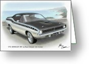 Runner Greeting Cards - 1970 BARRACUDA AAR Cuda Plymouth muscle car sketch rendering Greeting Card by John Samsen