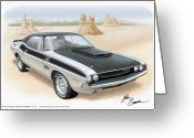 Runner Greeting Cards - 1970 CHALLENGER T-A Dodge muscle car sketch rendering Greeting Card by John Samsen