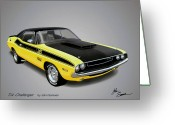 Runner Greeting Cards - 1970 CHALLENGER T-A muscle car sketch rendering Greeting Card by John Samsen